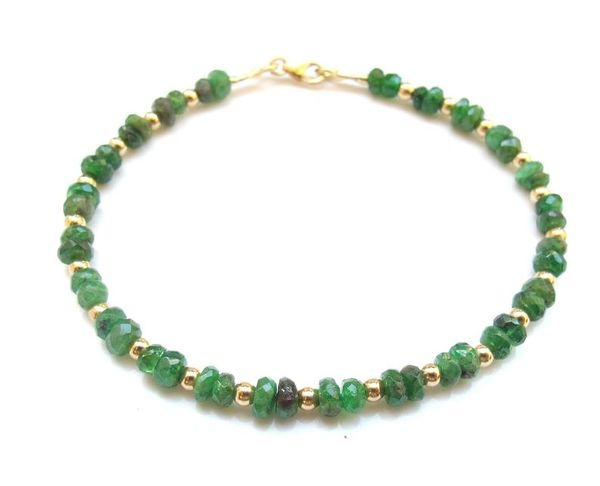emerald gemstone 14k yellow gold beads bracelet natural genuine gem luxury jewelry
