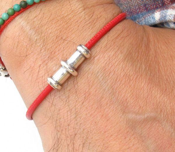 kabbalah red string strength and power silver tube bracelet