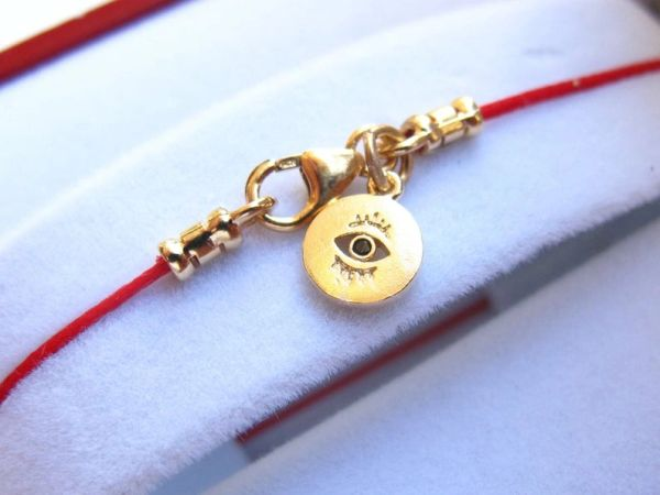 kabbalah red string gold filled evil eye bracelet