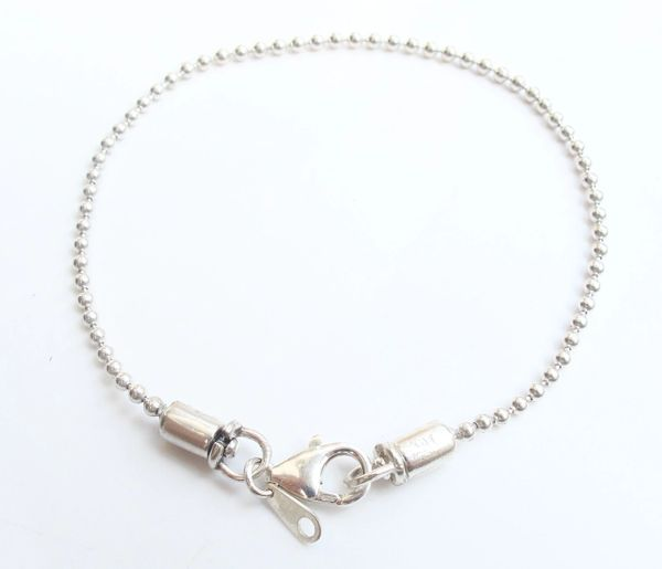 sterling silver ball chain bracelet military style unisex
