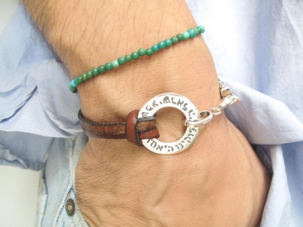 Kabbalah artisan jewelry shema prayer blessing sterling silver and leather bracelet for good luck and protection