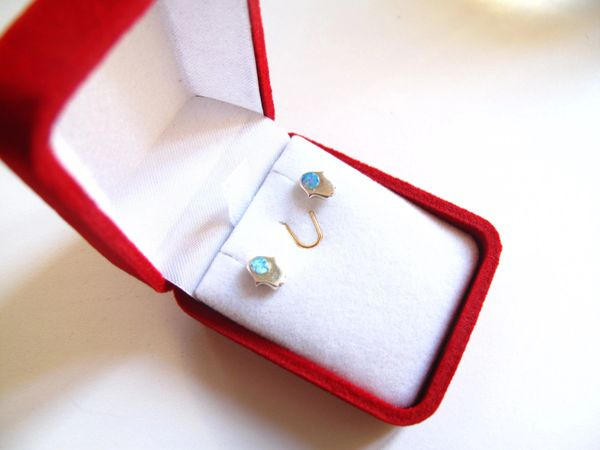Hamsa Opal silver stud earrings blue gemstone 925 sterling hand lot luck jewish kabbalah dainty evil eye protection