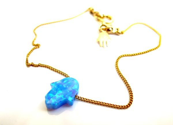 14 K solid gold blue opal hamsa hand bead bracelet for good luck and protection amulet kabbalah jewelry