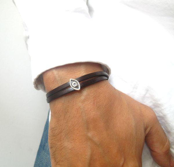 kabbalah hamsa evil eye luck sterling silver leather bracelet protection amulet