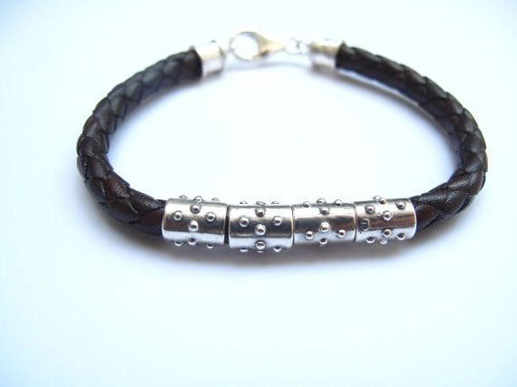 Italian leather and silver bracelet braided 6 mm brown leather and 925 sterling silver tube men bracelet bangle leather cuff new
