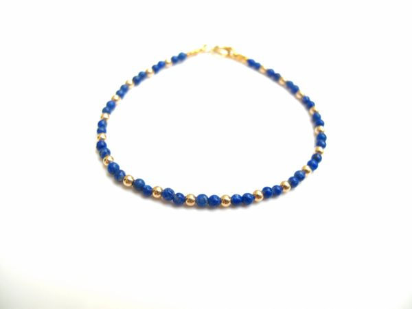 14 K solid gold and genuine blue lapis beads bracelet elegant luxurious handmade item