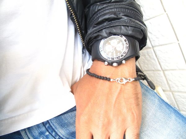 Lava Bead Black Bracelet 925 sterling silver , Beaded round lava stone Silver Grey bracelet , handmade men bracelet