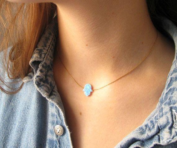 Hamsa necklace , hamsa opal necklace , large hamsa opal , geniune opal necklace , blue hamsa ,kabbalah hamsa , gold filled opal hamsa
