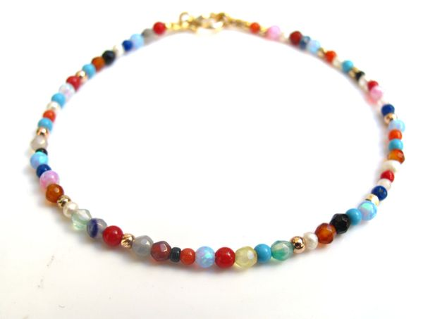 14 K solid gold multi color natural gemstone bracelet turquoise opal quartz gold emerald ruby pearl coral