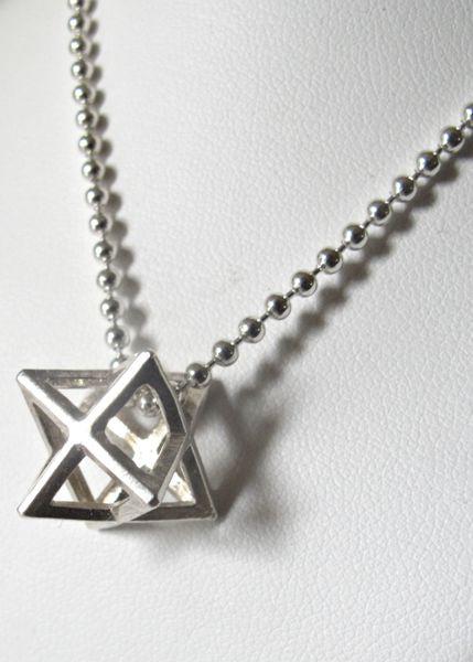kabbalah talisman amulet silver Merkaba Merkabah Chariot pendant necklace charm