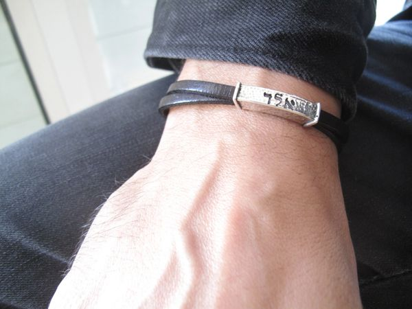 Kabbalah Aleph Lamed Dalet silver and leather bracelet , artisan god 72 name silver and leather bracelet , talisaman silver bracelet men