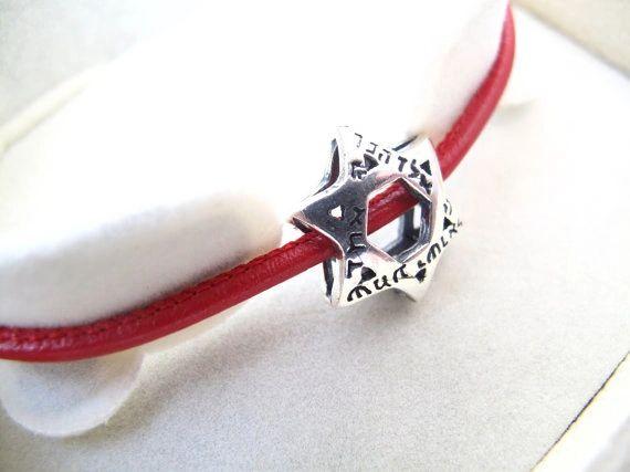 kabbalah red string silver David star bracelet , shema silver bracelet , God name 72 bracelet , Jewish star of David silver bracelet