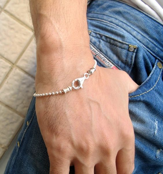 silver ball chain bead men 925 sterling 2 women bracelet dog tag real new bead military