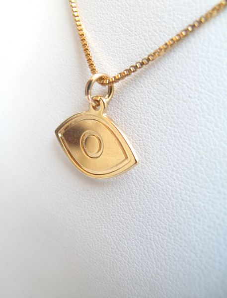 14k gold plated evil eye charm pendant necklace kabbalah lot luck amulet for protection