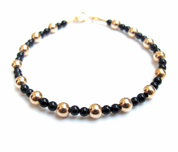 14 K yellow gold round beads natural round black onyx beads bracelet luxurious 4 mm gold beads bracelet