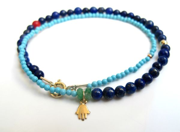 14K gold turquoise blue lapis emerald beads bracelet hamsa charm luck amulet multi color gem