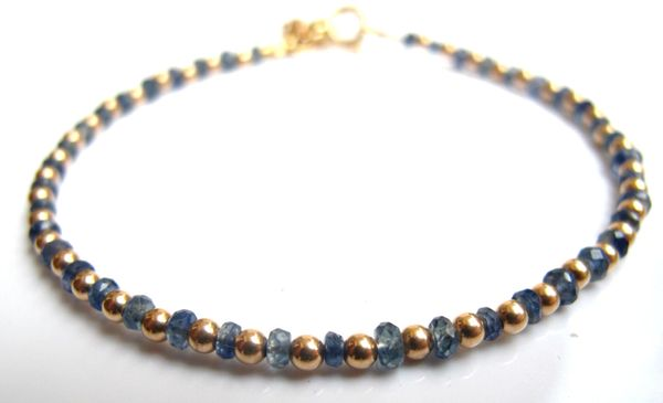 14 k gold beads bead blue sapphire gemstone bracelet charm solid gold genuine gem luxurious bracelet