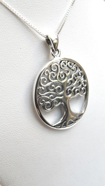 tree of life silver symbol for good health and long life pendant charm 925 sterling silver necklace