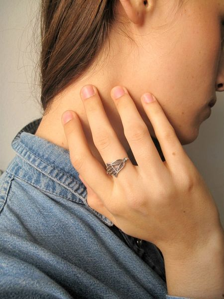 Hamsa silver ring handmade for good luck and protection symbol