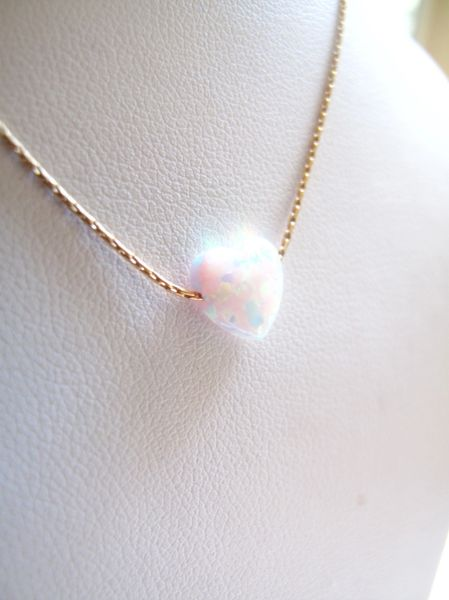Opal heart necklace , white opal gold necklace , white opal gemstone charm necklace , geniune opal heart bead charm , opal gold jewelry