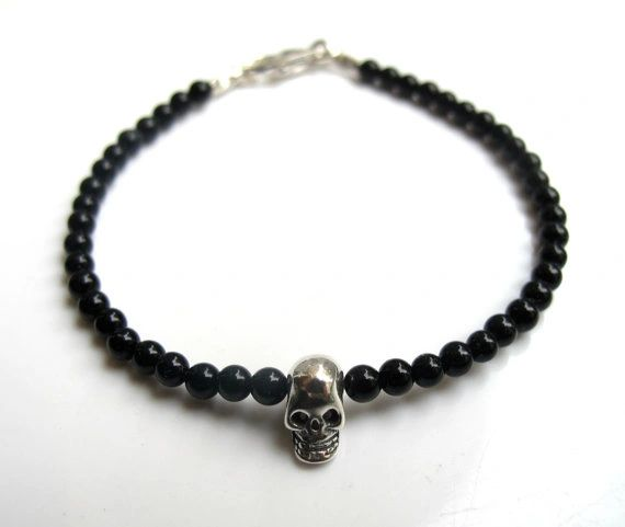 Black onyx skull silver bead bracelet natural gemstone habdmade