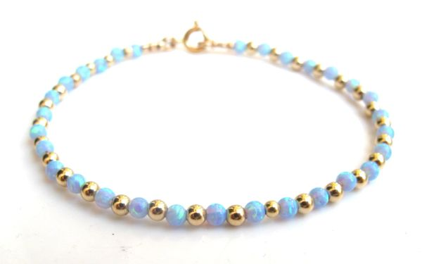 14 k Gold beads bead opal blue gemstone 14k bracelet yellow fire pink ethiopian new handmade luxury