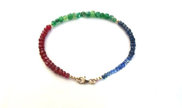 14k gold bead multi color emerald sapphire ruby gem bracelet