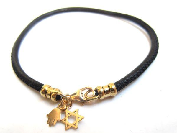 kabbalah hamsa star david 14k solid gold bangle leather bracelet luck charms new