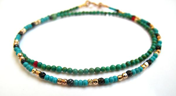 14k solid gold diamond cut beads turquoise bracelet natural gemstone multi color handmade