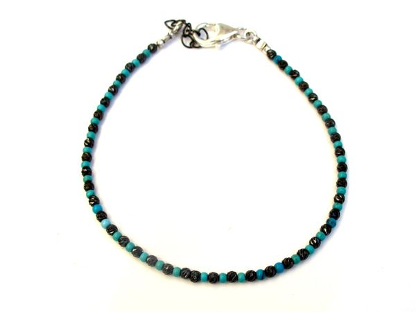 black silver beads turquoise diamond cut bracelet men women bangle string stud