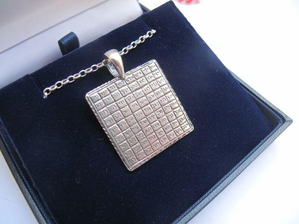 silver amulet kabbalah pendant necklace god 72 names luck talisman