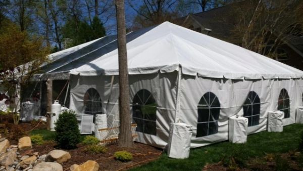 ****15' x 7' or 8' Cathedral-Window Tent Sidewall SuperSale (Premium Commercial Quality White 13 Oz. w/ blockout & 20 Gauge Clear Windows )