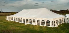 ****30' x 10' Cathedral-Window Tent Sidewall SuperSale (Premium Commercial Quality White 13 Oz. w/ blockout & 20 Gauge Clear Windows )