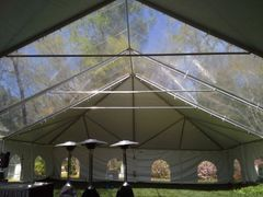****30' x 7' or 8' Cathedral-Window Tent Sidewall SuperSale (Premium Commercial Quality White 13 Oz. w/ blockout & 20 Gauge Clear Windows )