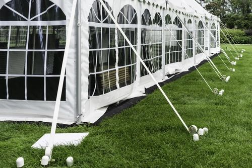 ****30' x 9' Cathedral-Window Tent Sidewall SuperSale (Premium Commercial Quality White 13 Oz. w/ blockout & 20 Gauge Clear Windows )