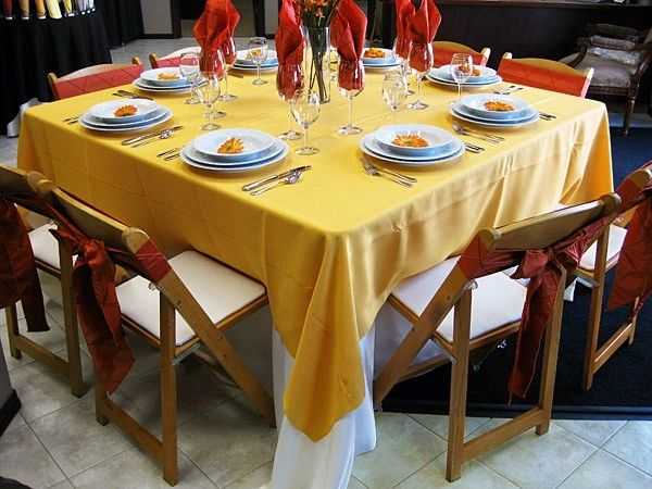 "120"" x 120"" Square Table Cloth 10-Pack in a Variety of Colors (Premium-Quality 100 % Flame Retardant Polyester-Made in USA) - Free Shipping Available"