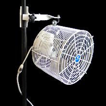 *12 inch Versa-Kool Pole-Mounted Tent Fan for Multi-Bracket Frames (Model VK12TF-MPM-W) with standard pole mount