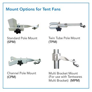 12 inch Versa-Kool Pole-Mounted Tent Fan for Keder Frames (Model VK12TF-CPM-W) with channel pole mount