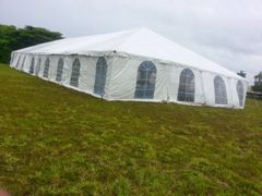 ****20' x 10' Cathedral-Window Tent Sidewall SuperSale (Premium Commercial Quality White 13 Oz. w/ blockout & 20 Gauge Clear Windows )