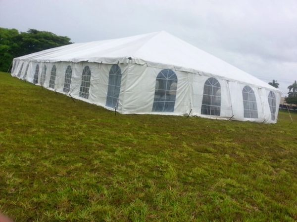 *20' x 10' Cathedral-Window Tent Sidewall SuperSale (Premium Commercial Quality White 13 Oz. w/ blockout & 20 Gauge Clear Windows )