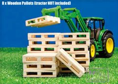 610761 Wooden Pallets (Pack of 8) 1:32 Scale by Kids Globe