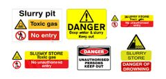 DEC09 6 x Self-adhesive Slurry Store Warning Signs Decals 1:32 Scale by HLT