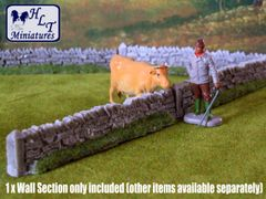 1x Grey Section Low Roadside Dry Stone Wall Any Scale PW1