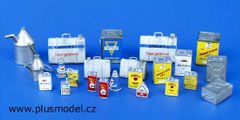 PLM106 Oil Tins Garage Accessories Kit in 1:32/1:35 scale by Plusmodel