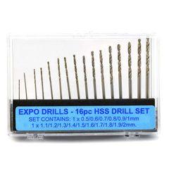 16pc Drill Set 0.5mm-2mm Set Expo Tools 11516