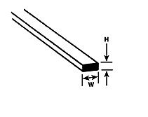 6.4 x 4mm Plastruct - Styrene Rod ms-1625 (90799)