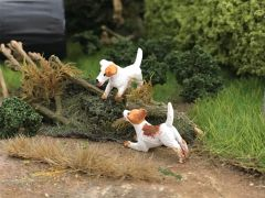 Jack Russell Dogs (2) 1:32 Scale by HLT Miniatures WMA86