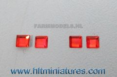 3x3mm Red Square Glimmer Transparent Lights (4) 1:32 Scale 22116