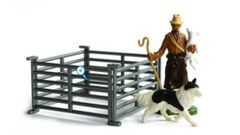 42736 Britains Shepherd, Sheep Dog and Four Sheep Hurdles 1:32 Scale