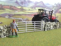 C08EH Modern 12ft Gate and Stone Post Set by JG Miniatures